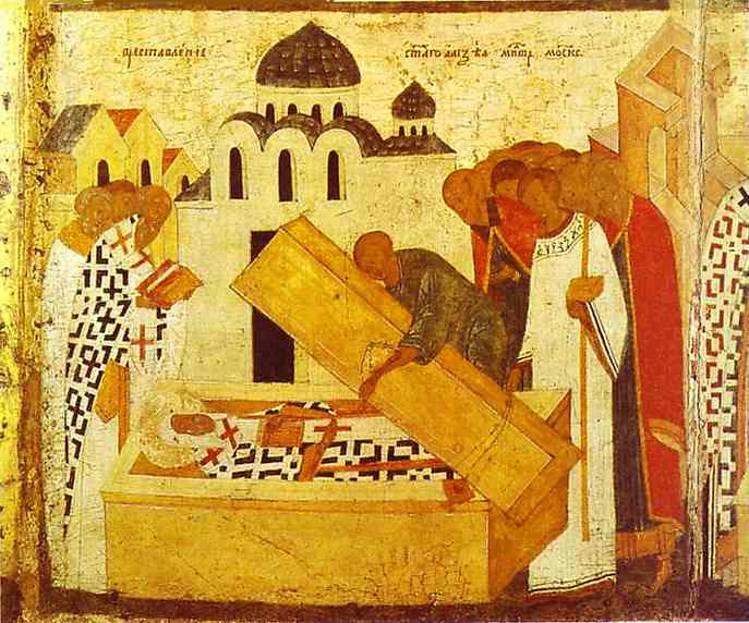 Oil painting:The Discovery of the Remains. Border scene of St. Alexius, Metropolitan of Moscow, with