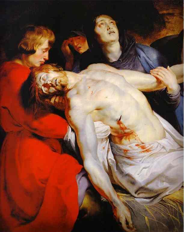 Oil painting:The Entombment (detail). c.1612