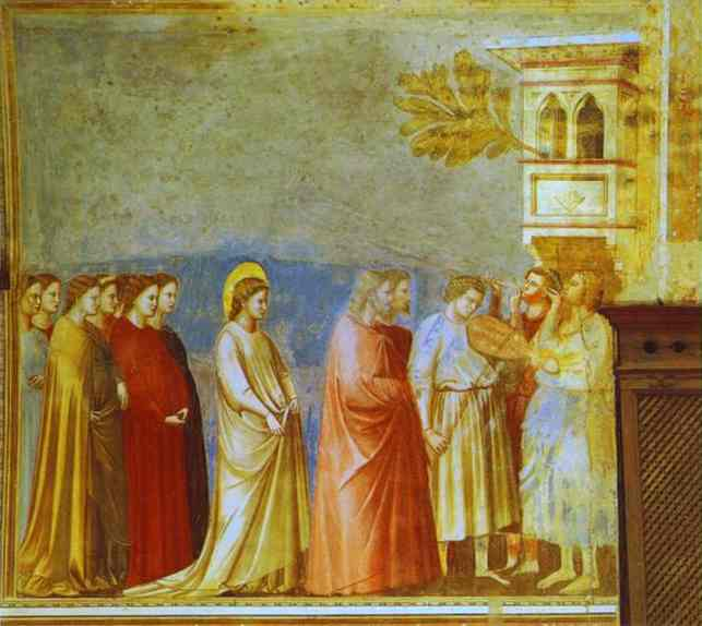 Oil painting:The Marriage Procession of the Virgin. 1304-1306