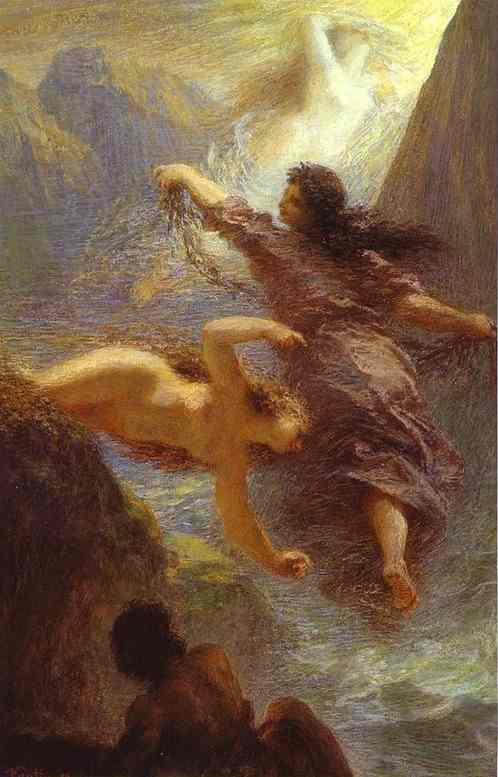 Oil painting:The Three Rhine Maidens. 1876