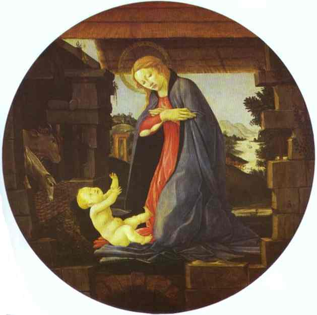 Oil painting:The Virgin Adoring the Child. c.1480