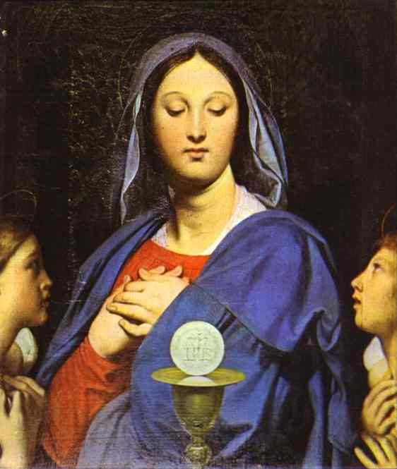 Oil painting:The Virgin of the Host. 1866