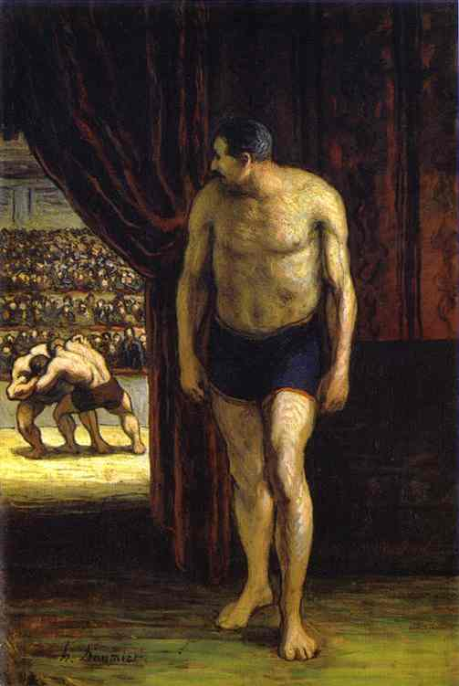 Oil painting:The Wrestler. c. 1852
