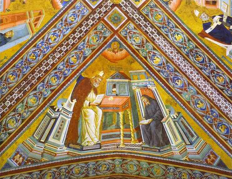 Oil painting:Vault of the Doctors of the Church, St. Jerome. ca. 1290-1295