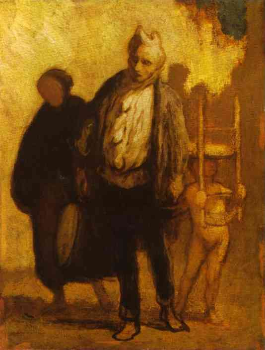 Oil painting:Wandering Saltimbanques. c. 1847