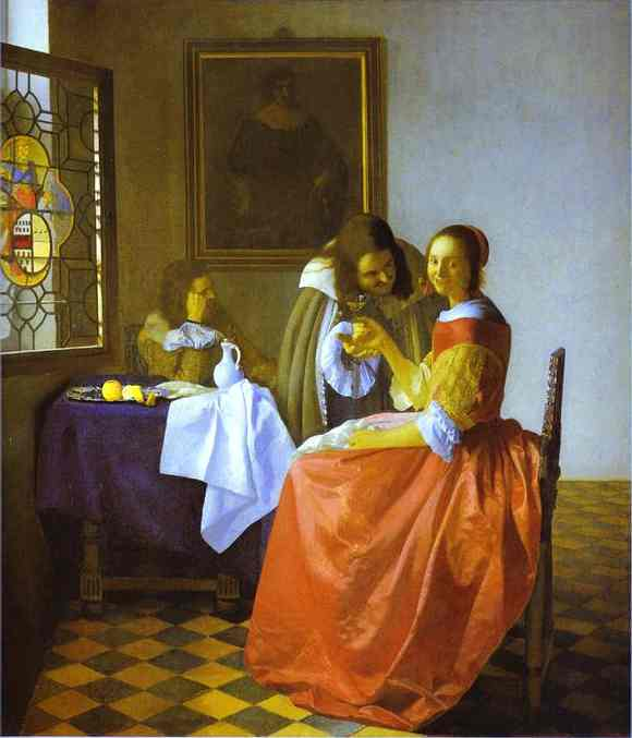 Oil painting:Woman and Two Man. c.1659