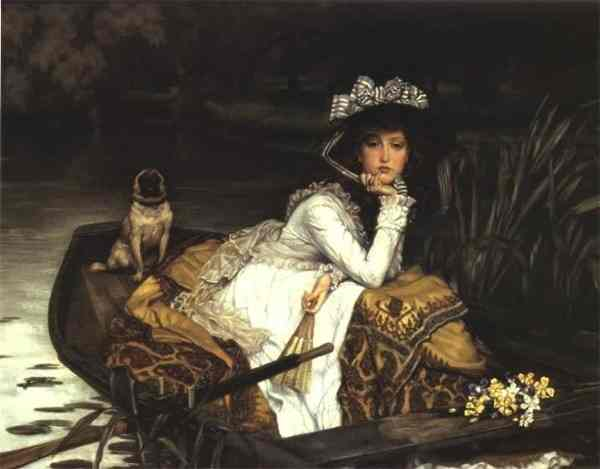 Oil painting:Young Lady in a Boat. 1870