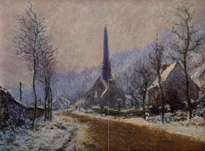 Oil painting for sale:Church at Jeufosse, Snowy Weather, 1893