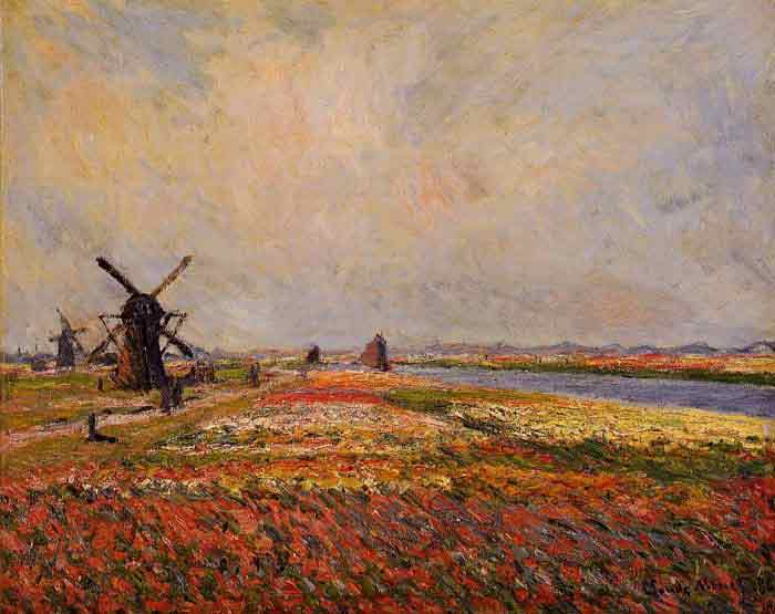 Oil painting for sale:Fields of Flowers and Windmills near Leiden , 1886