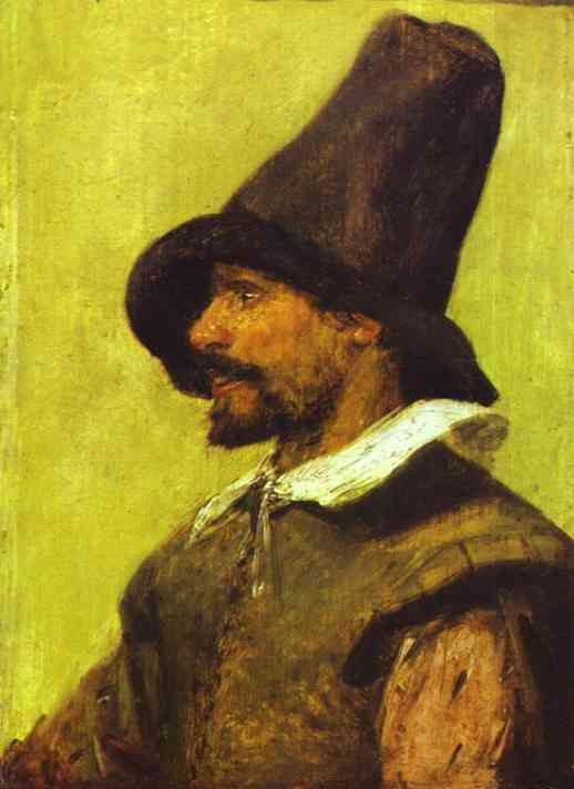 Oil painting:Portrait of a Man with a Pointed Hat.