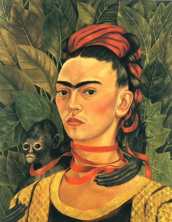 Oil painting:Self-Portrait with Monkey. 1940