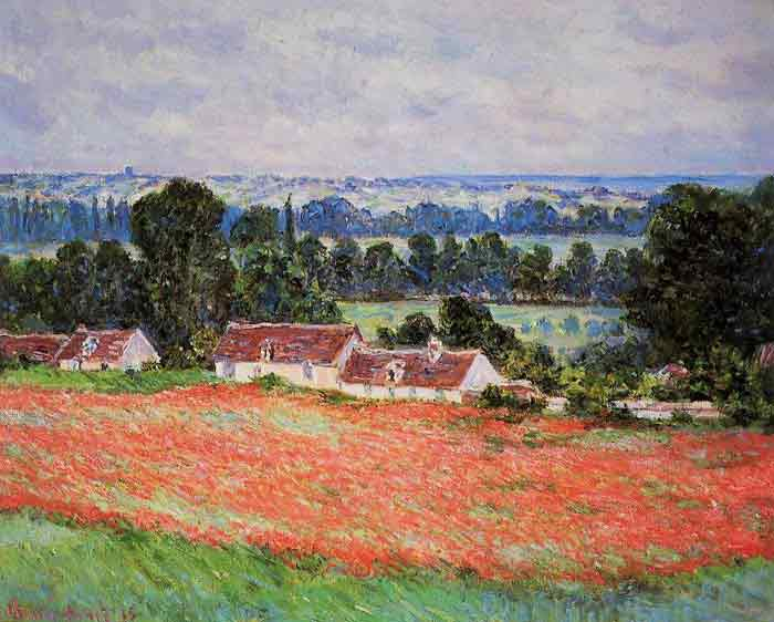 Oil painting for sale:Poppy Field at Giverny , 1885