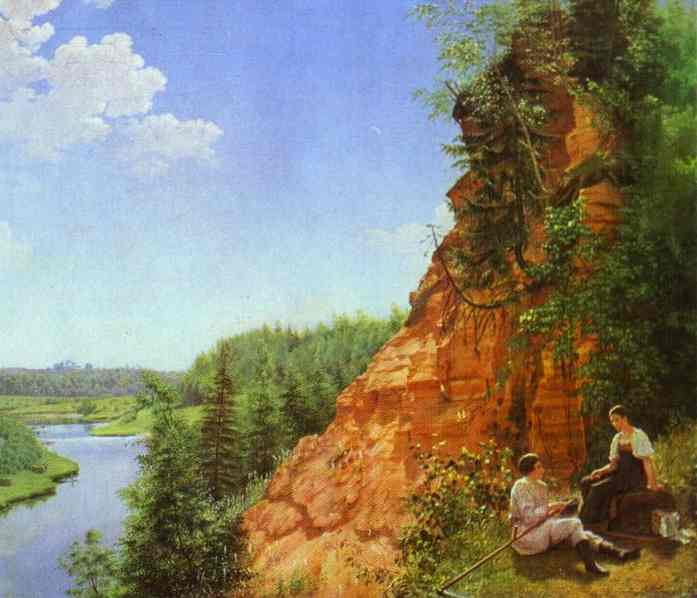 Oil painting:View of the River Tosno. 1827