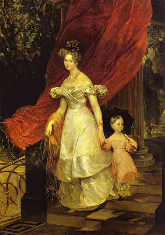 Oil painting:Portrait of Grand Duchess Elena Pavlovna and Her Daughter Maria. 1830