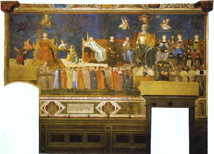 Oil painting:Allegory of Good Government. Top right: Allegorical Personifications of Faith, Charity