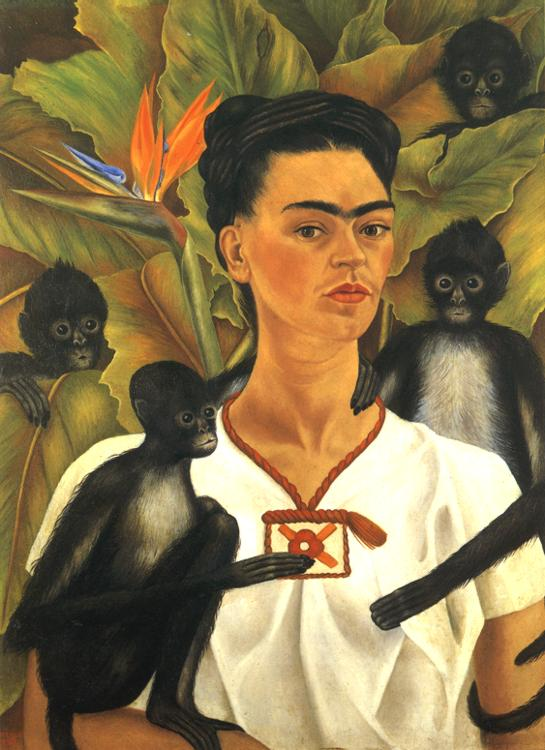 Oil painting:Self-Portrait with Monkeys. 1943