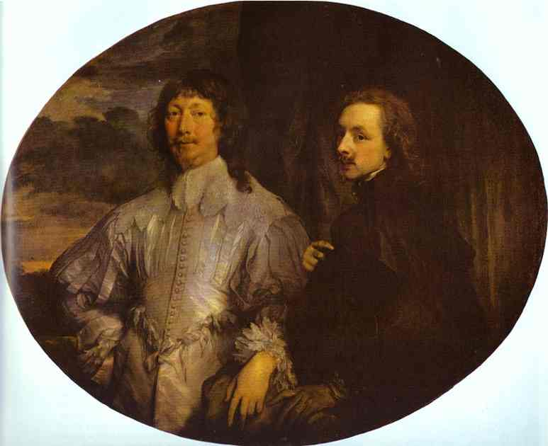 Oil painting:Self-Portrait with Sir Endymion Porter. 1630