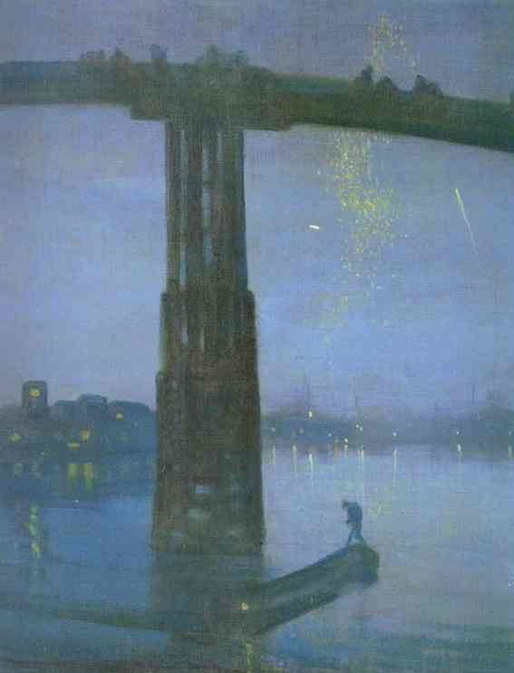 Oil painting:Nocturne in Blue and Gold - Old Battersea Bridge. 1872