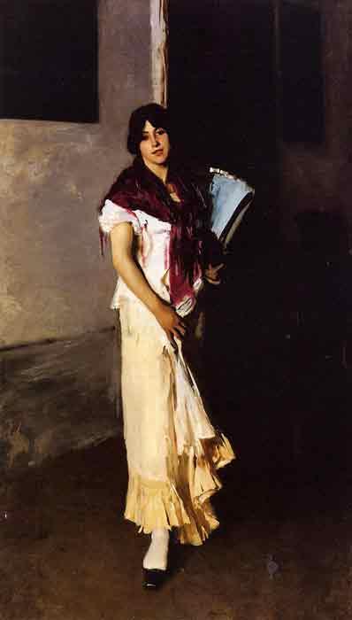 Oil painting for sale:Italian Girl with Fan aka Venetian Girl with a Fan, 1882