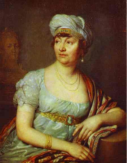 Oil painting:Portrait of M-me de Stael. 1812
