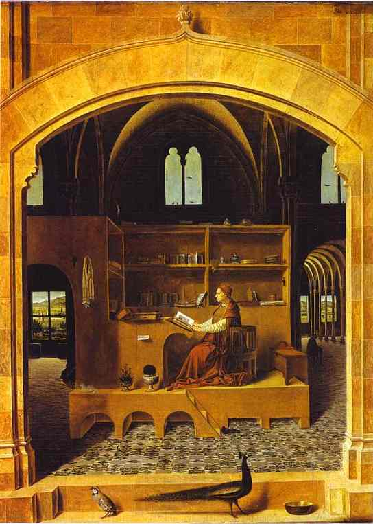 Oil painting:St. Jerome in His Study. c. 1474