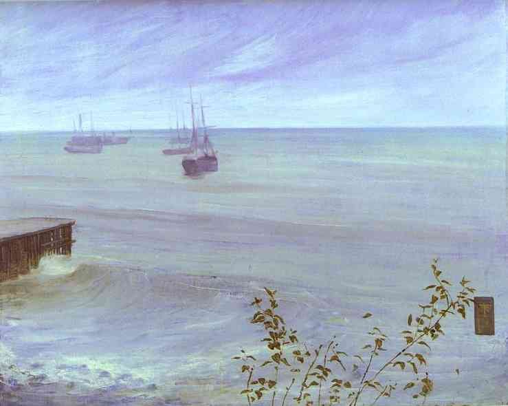 Oil painting:Symphony in Gray and Green: The Ocean. 1866