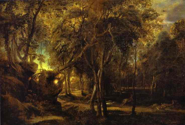 Oil painting:A Forest at Dawn with a Deer Hunt. c.1635
