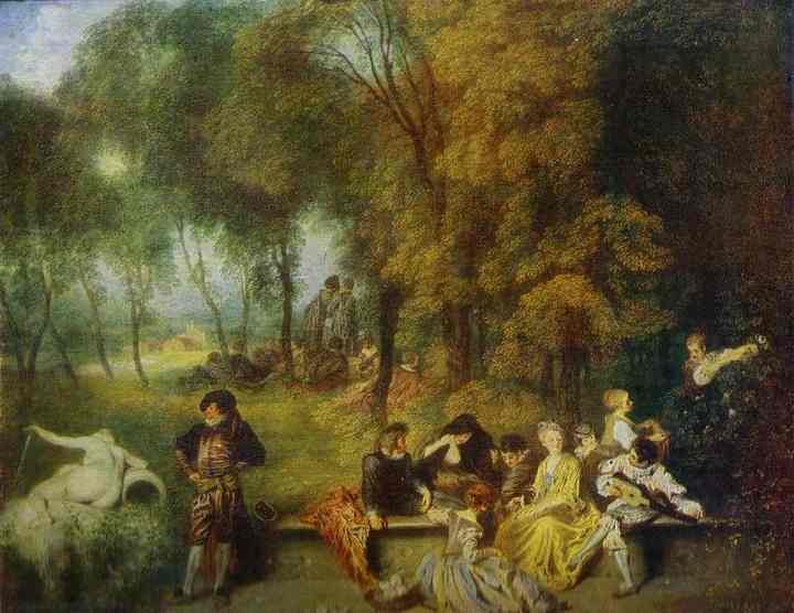 Oil painting:A Garden Party. c.1719
