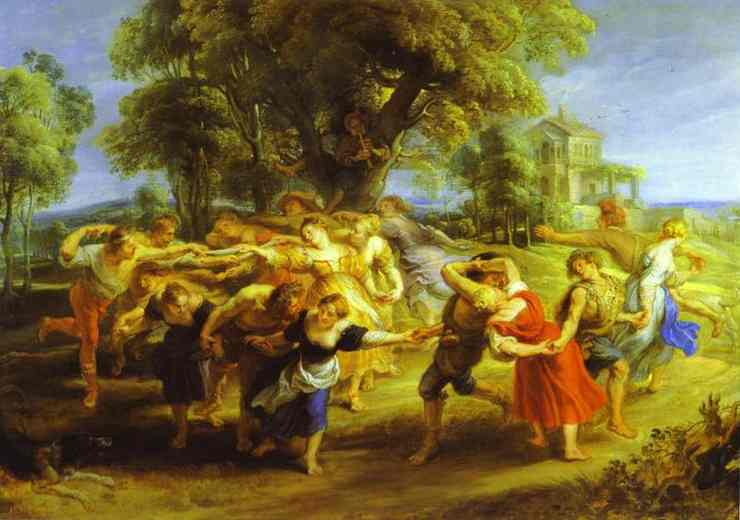 Oil painting:A Peasant Dance.