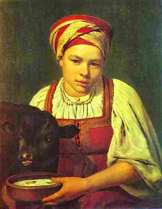 Oil painting:A Peasant Girl with a Calf. 1820