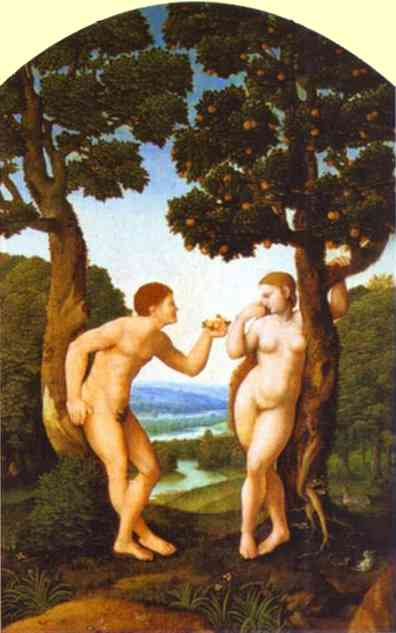 Oil painting:Adam and Eve. c. 1540