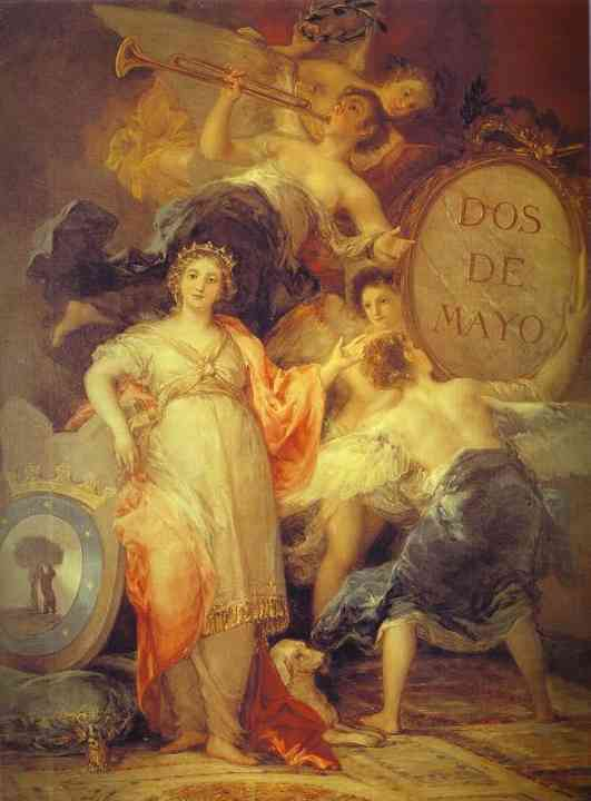 Oil painting:Allegory of the City of Madrid. 1810