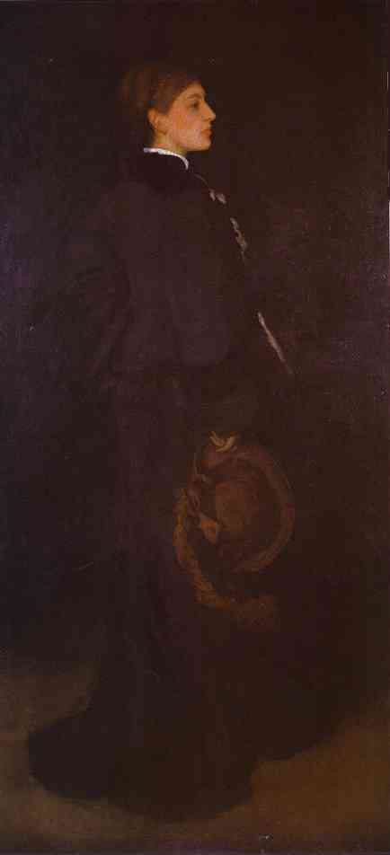Oil painting:Arrangement in Brown and Black: Portrait of Miss Rosa Corder. c. 1876
