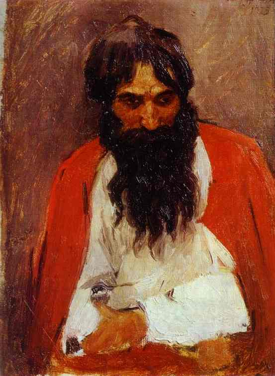 Oil painting:Black-Bearded Strelets. Study. 1879