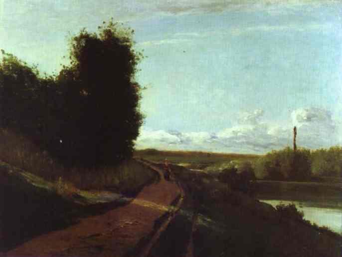 Oil painting:Bords de la Marne (?). 1864
