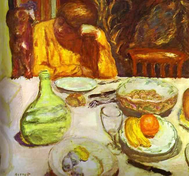 Oil painting:Carafe, Marthe Bonnard with Her Dog. 1912