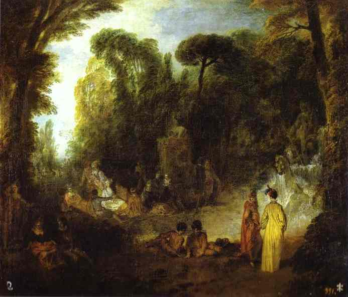 Oil painting:Courtly Gathering in a Park.