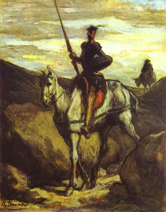 Oil painting:Don Quixote and Sancho Pansa. c. 1849
