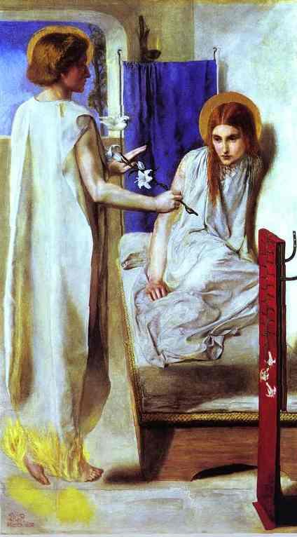 Oil painting:Ecce Ancilla Domini (The Annunciation). 1850