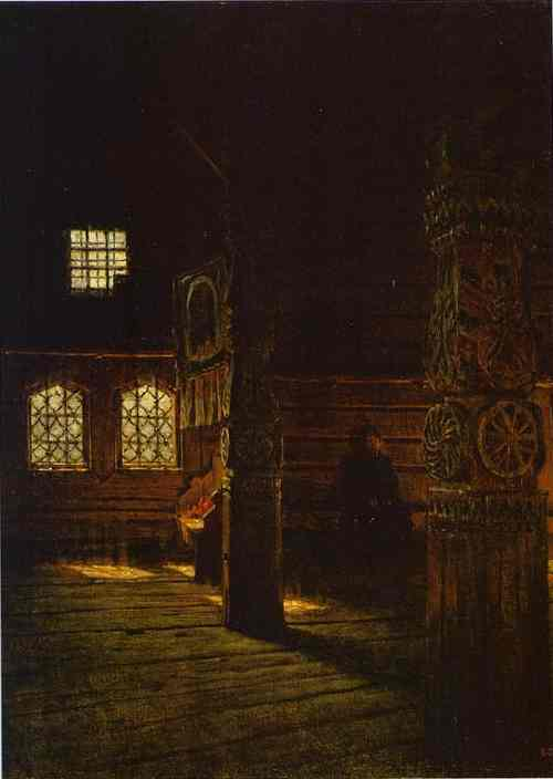 Oil painting:Interior of the Wooden Church of St. Peter and St. Paul in Puchug. Study. 1894