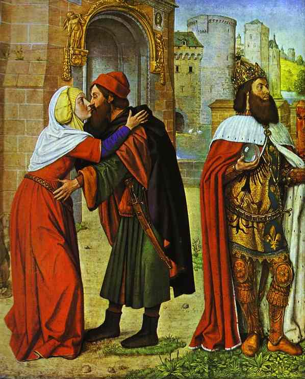 Oil painting:Meeting at the Golden Gate. c. 1488