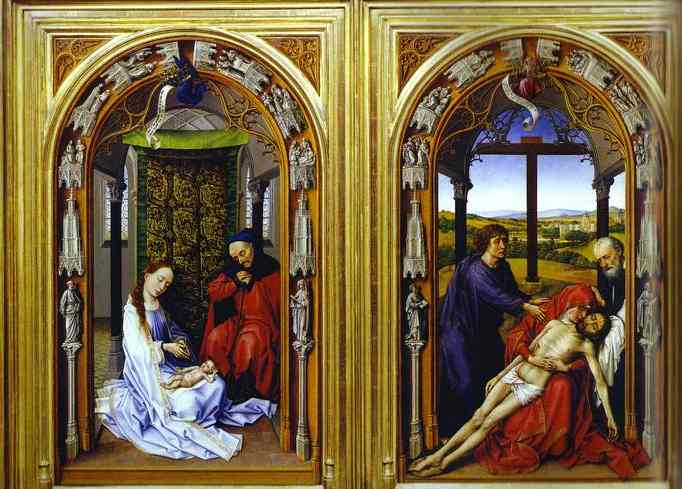 Oil painting:Miraflores Altarpiece. Left and cental parts. c.1440