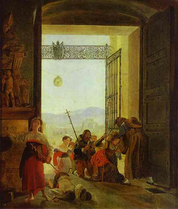 Oil painting:Pilgrims at the Entrance of the Lateran Basilica. 1825