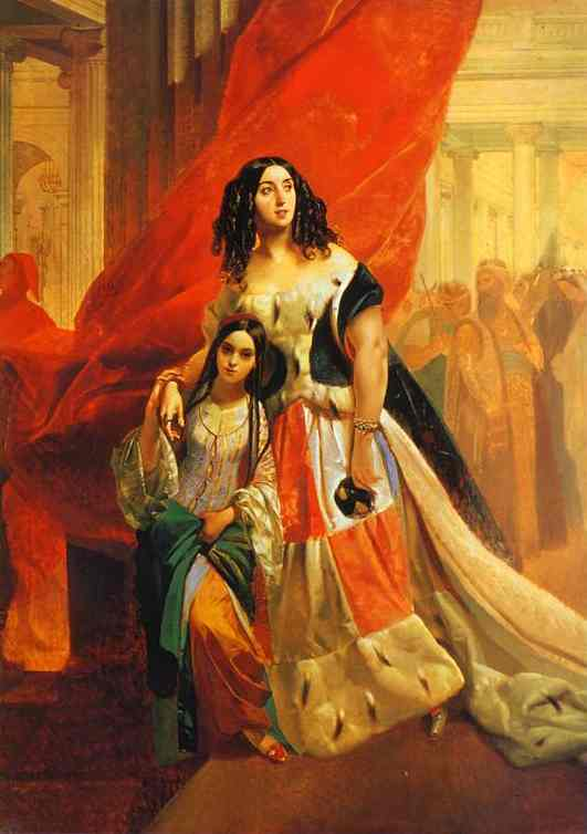 Oil painting:Portrait of Countess Yu. P. Samoilova and Her Ward Amacilia Pacini Leaving a Ball. Not