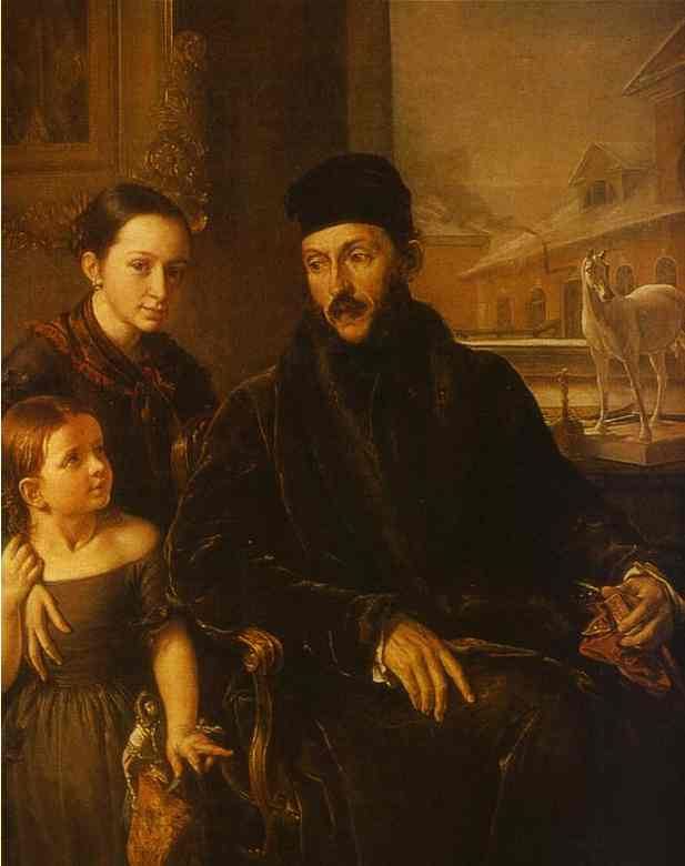 Oil painting:Portrait of D. P. Voyeikov with His Daughter and the Governess Miss Sorock. 1842
