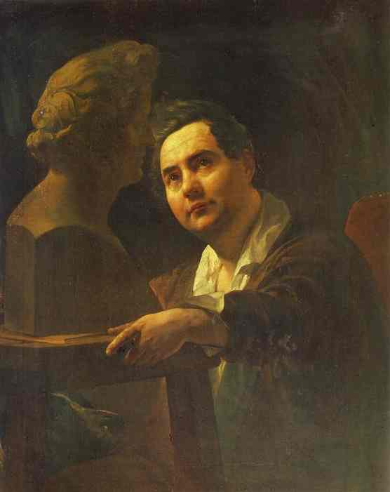 Oil painting:Portrait of Sculptor I. P. Vitaly. 1836