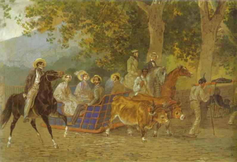 Oil painting:Promenade. Portrait of the Duke of Leuchtenberg, 1849