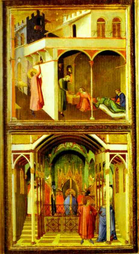 Oil painting:St. Nicholas Offers Three Girls Their Dowry and St. Nicholas is Elected Bishop of Mira.