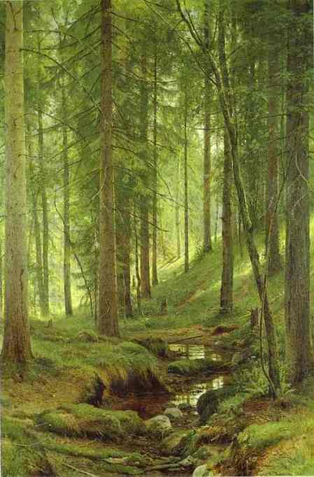 Oil painting:Stream by a Forest Slope. 1880