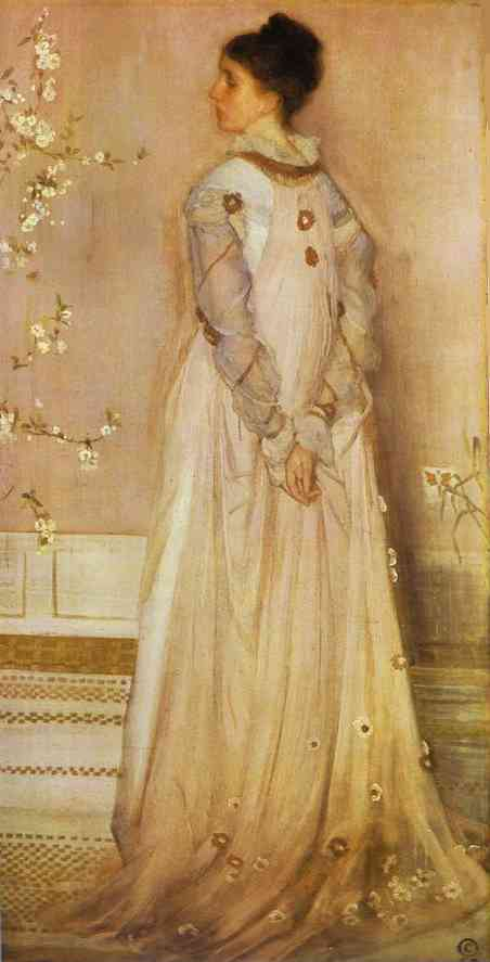 Oil painting:Symphony in Flesh Color and Pink: Portrait of Mrs. Frances Leyland. 1871